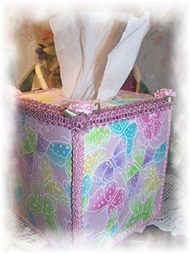 Whimsical Pink Butterfly Glitter Tissue Box Cover with Pink Trims