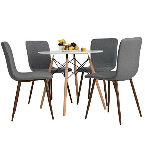 eames style fabric cushion chairs comfortable dining room chairs grey