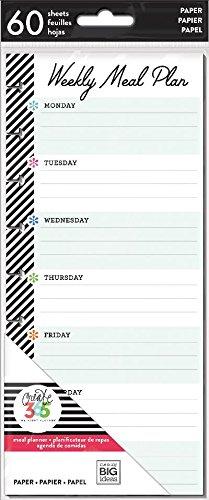 Me & My Big Ideas FIL-24 Happy Planner Medium Half Sheet Fill Paper 60/Pkg Meal Planning, - Sheet Planning