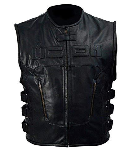 Skull Icon - Skull Regulator Icon Biker Black Leather Vest (XXXL)
