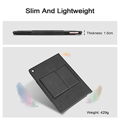 OMOTON New iPad 9.7 2018 & iPad 9.7 2017 Keyboard Case, [Upgraded Version] Ultra-Thin Bluetooth Keyboard Portfolio Case with Stand, PU Leather, and Auto Sleep/Wake for Apple iPad 9.7 2017 2018 Tablet by OMOTON (Image #2)