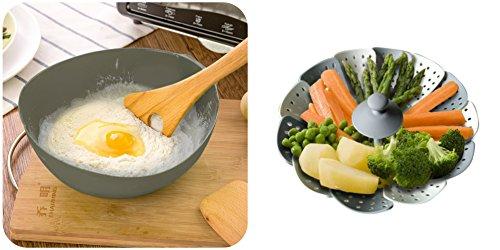 Silicone Steamer and Steamer Basket- Seafood Poacher- Bread Maker-Ideal for Oven- Microwaveable- Dishwasher-Safe
