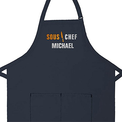 Sous Chef Apron - Personalized Apron Embroidered Sous Chef Design Add a Name Made in USA, Commercial Quality Adult Apron with Extra Long Ties, 2 Pockets and Adjustable Neckstrap (Navy, Regular Adult 24
