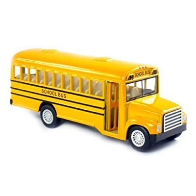"""6\"""" Die Cast Long-Nose School Bus with Pull-Back Action and Open-able Doors: Toys & Games [5Bkhe1801011]"""