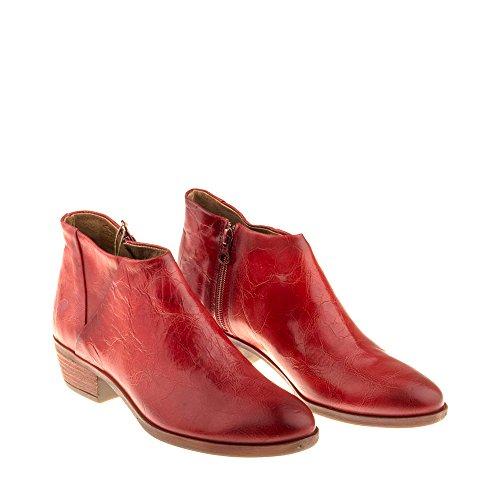 Genuino B003 Enamorarse Botines Rojo con Cuero Gin com Rojo Botines Felmini Zapatos Para Mujer Cremallera q7fYYZwz