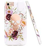 JIAXIUFEN Shiny Rose Gold Flower Skull White Marble Slim Shockproof Flexible Bumper TPU Soft Case Rubber Silicone Cover Phone Case for iPhone 7 / iPhone 8 / iPhone 6 6S