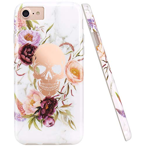 - JIAXIUFEN Shiny Rose Gold Flower Skull White Marble Slim Shockproof Flexible Bumper TPU Soft Case Rubber Silicone Cover Phone Case for iPhone 7 / iPhone 8 / iPhone 6 6S