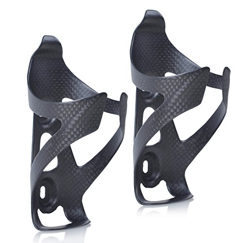 (ThinkTop 2 Pack Ultra-Light Full Carbon Fiber Bicycle Bike Drink Water Bottle Cage Holder Brackets for Road Bike MTB Cycling)