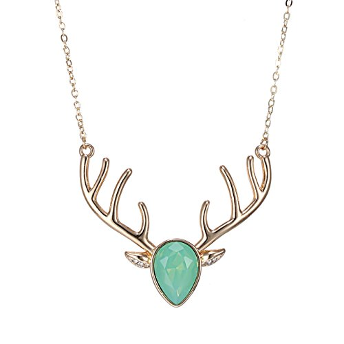Green Your Decor Peacock Costume (eManco Gold Statement Deer Antler Cute Animal Green Cyrstal Pendant Necklace for Women Fashion Jewellery)