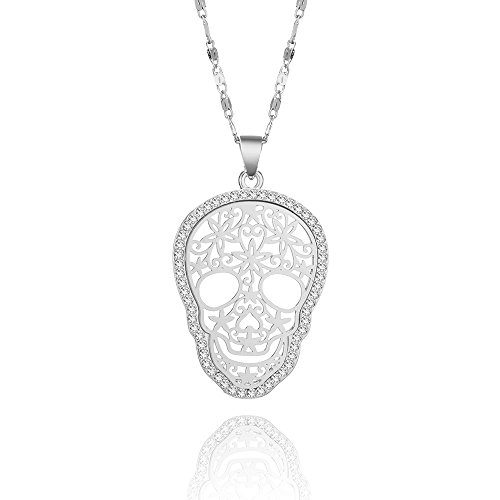 Silver Skull Locket Necklace - 7