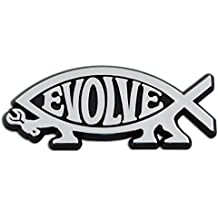 """Evolve Silver Emblem! 5"""" x 2"""" silver tool user. The next step on evolution's ladder comes with a two-way adhesive strip on the back. The Evolve fish emblem is copyrighted. No unauthorized use is permitted. Thanks for your understanding, and don't be fooled by all those imitators!"""