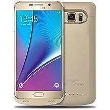 Note 5 Estuche Protector Dorado con Batería Incluida, 4200mAh Cargador Protector con Batería de Reserva para Samsung Galaxy Note 5 Protector Recargable