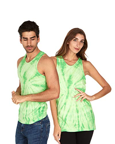 Dyed Cotton Ladies Tank Top - Tie Dye Tank Top Men Women - Fun Bright Colotful Tops, Spider Lime, Small