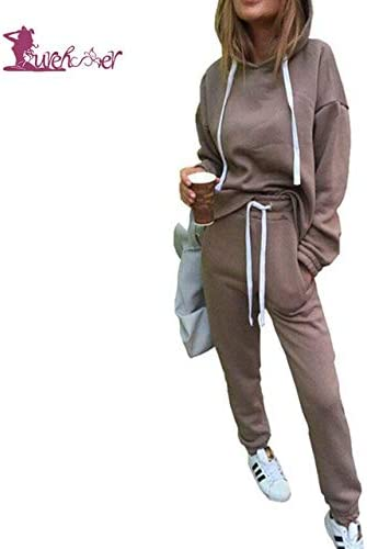 Fecpd Women S Sports Suits Tracksuit 2 Piece Set Solid Hooded Yoga Clothes Fitness Suit Clothing Gym Running Sets Xxl Khaki Amazon Co Uk Sports Outdoors