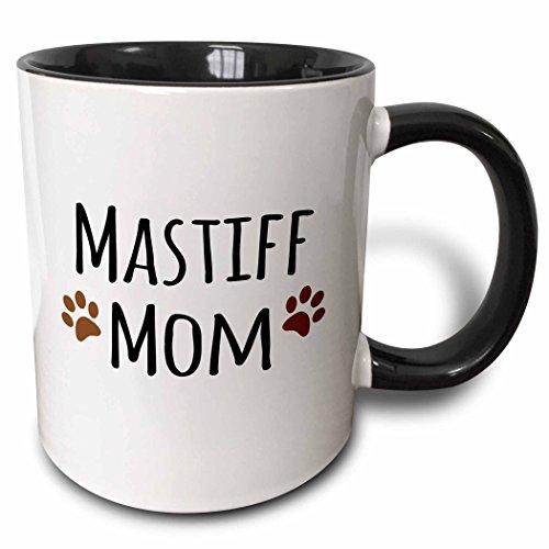 3dRose Mastiff Dog Mom Doggie By Breed Brown Muddy Paw Prints Doggy Lover Proud Pet Owner Mama Love Two Tone Black Mug, 11 oz, Black/White