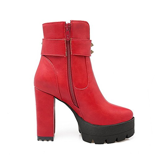 Top Low Heels Women's Solid Material Boots Red Soft Allhqfashion Toe Round High Closed SzXdC8g