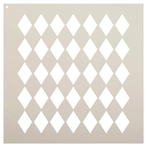 Medium Diamonds Stencil by StudioR12 | Simple Repeating Pattern - Reusable Mylar Template | Painting, Chalk, Mixed Media | Use for Crafting, DIY Home Decor - STCL630 (9 x 9)
