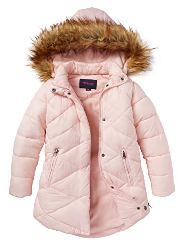 - Girls Quilted Fleece Lined Winter Puffer Jacket Coat Faux Fur Trim Zip-Off Hood- Blush (5/6)