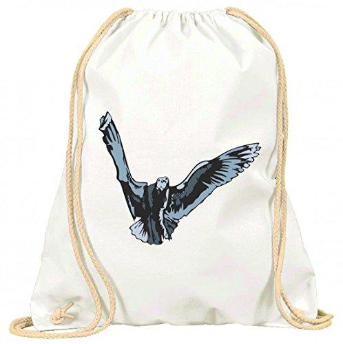 Turnbeutel Vogel im Sturzflug Vögel fliegen mit Kordel - 100% Baumwolle- Gymbag- Rucksack- Sportbeutel Weiß