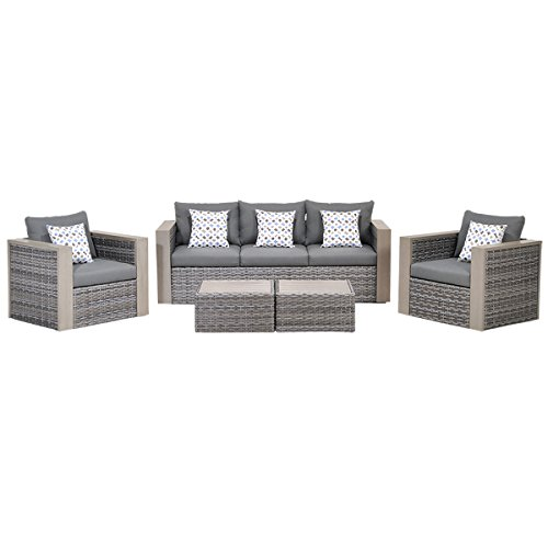 Atlantic 5-Piece Mustang Wicker Conversation Set with Grey Cushions Review