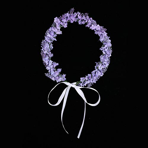 Boho Headband Lavender Flower Crown Festival Wedding Beach Hair Wreath 2019 (Color - Light Purple)