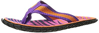 Crow's Feet Women's Zebra Run Sunset Flip Flops Size 10 (Pink & Orange)