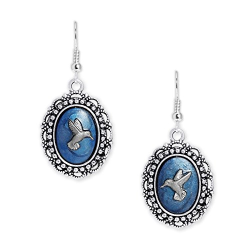 Persian Blue & Silver Color Hummingbird Mismatched Cameo Vintage Style Dangle Earrings in Silver Tone