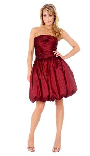 - Clarisse Short Bubble Bottom Dress 9205, Burgandy, 2
