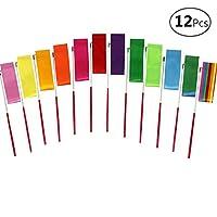 YGEOMER 12pcs Kids Rhythmic Dance Ribbons Gym Ribbons Streamers Dancing Streamers, Rotating Baton, for Kids Artistic Dancing