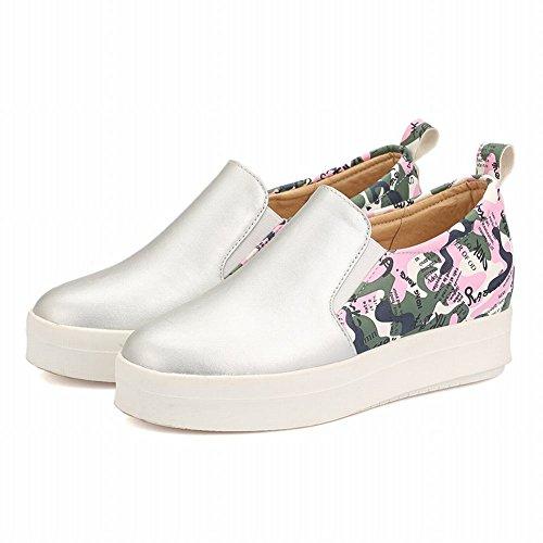 Latasa Mode Féminine Imprimé Slip Sur Chaussures De Tennis, Chaussures De Skate, Chaussures Plates, Mocassins Chaussures Argent (couleur Principale)