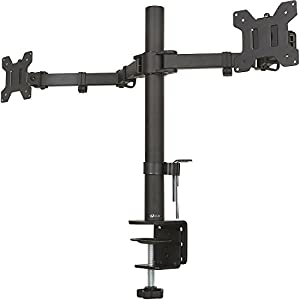 "WALI Universal Dual LCD Monitor Fully Adjustable Desk Mount Stand Fits Two Screens up to 27"", 22 lbs. Weight Capacity per Arm (M002), Black"