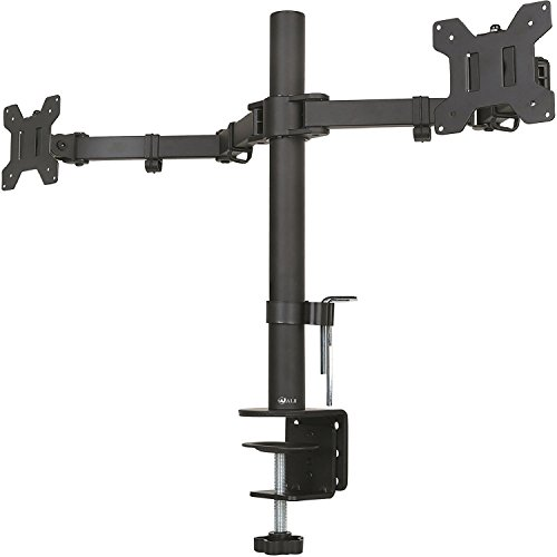 "WALI Universal Dual LCD Monitor Fully Adjustable Desk Mount Stand Fits Two Screens up to 27"", 22 lbs. Weight Capacity per Arm (M002), Black (Double Mount Arm)"