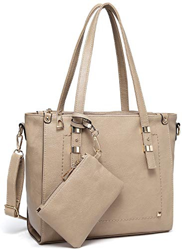 Tote Bag for Women,VASCHY Faux Leather Top Handle Triple Compartment Satchel Work Handbag Purse for Ladies with Little Pouch Apricot