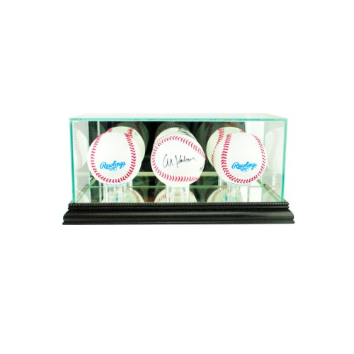 (Perfect Cases MLB Triple Baseball Glass Display Case, Black)