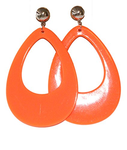 [Neon Nation Circular Oval Earring w/ Silver Top 1980s Costume Party (Orange)] (80s Earrings)