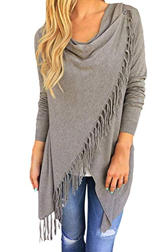Viottiset Women#039s Tassel Hemn Open Front Blouse Coat Outwear Top 1Gray L