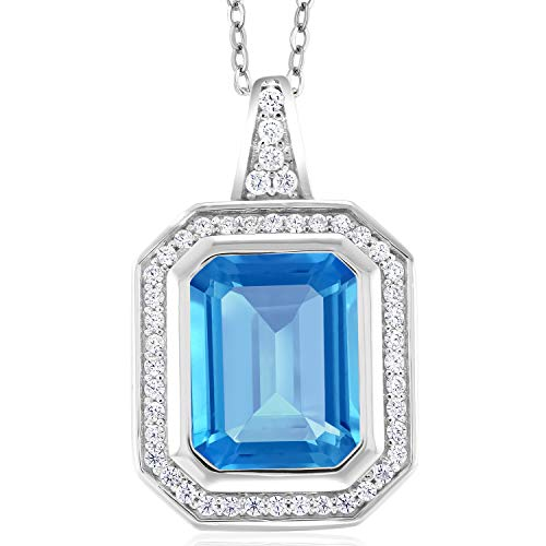 Gem Stone King Sterling Silver Swiss Blue Topaz Pendant Necklace 6.14 cttw Octagon Cut Gemstone Birthstone with 18inches Silver Chain