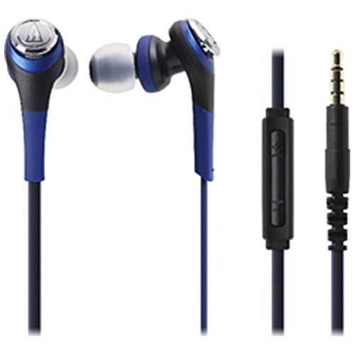 Audio Technica SOLID BASS for iPod iPhone iPad Inner Ear Headphones Blue ATH-CKS550i BL
