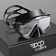 Adult Pano 3 Panoramic View Scuba Diving Mask, Tempered Glass Lens Snorkeling Dive Mask, Premium Swim Goggles