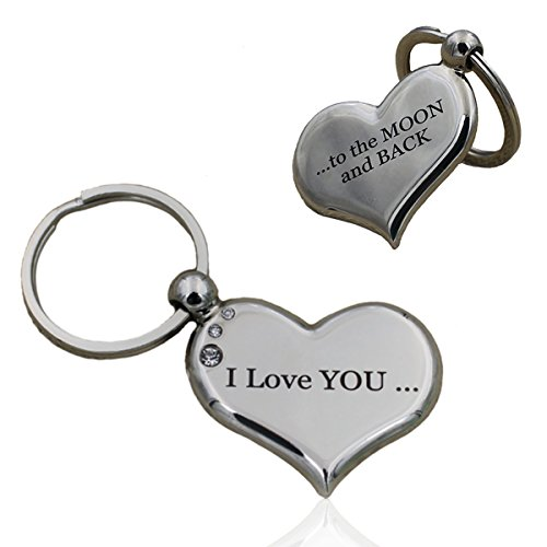 Heart Keychain I Love You to the Moon and Back Best Valentine's Day Gift for Her Cute Couple Key Ring for Girlfriend Boyfriend Sweetheart Lover Birthday Both Sides Engraved Jewelry Unique Design