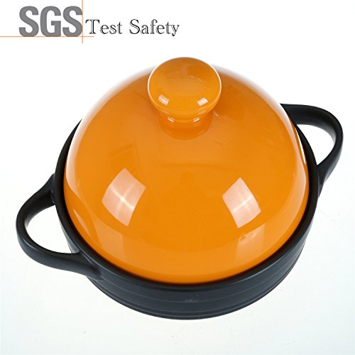 Tagine Ceramic Cookware,Healthy Dutch Oven Cooking Pot,Colorful 600 Degrees Crack Resistant Porcelain Soup Pots,Energy Saving Casserole Dish Stockpot,Hot Pot,Stew Pot(1-2/5Quarts,Yellow)