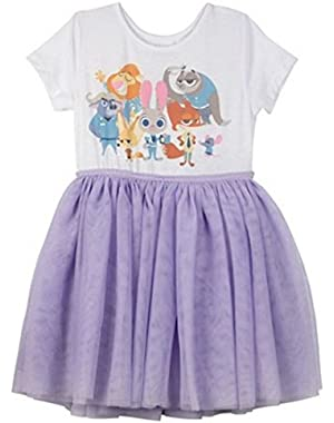 Zootopia Hopps & Friends Toddler Girls' Short Sleeve Dress - Lilac/White 12 Months