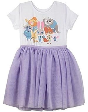 Zootopia Hopps & Friends Toddler Girls' Short Sleeve Dress - Lilac/White 12 Months