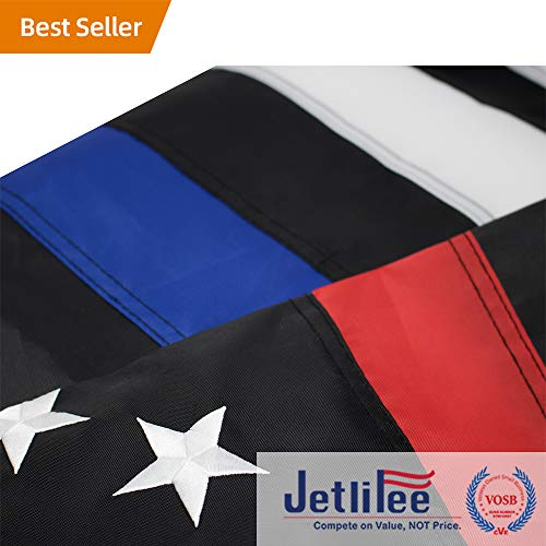 Jetlifee Thin Blue Line Police & Thin Red Line Firefighter Flag 3x5 Ft with Embroidered Stars Sewn Stripes and Long Lasting Nylon, American Flag Black and White