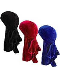 Unisex Velvet Deluxe Durag for 360 Waves Headwraps Long-Tail Du-RAG