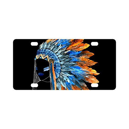 InterestPrint Tribal Aztec Native American Indian Girl Metal License Plate for Car, Car Tags Cover for Woman Man - 12