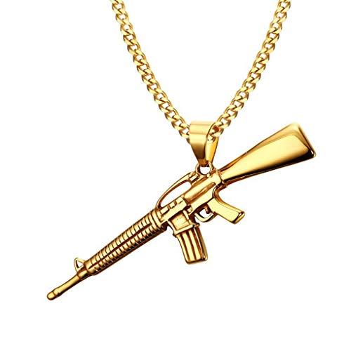 - FENDINA Men's Gold Tone 316l Stainless Steel Army Gun Rifle Games Gun Model Pendants Necklace with 24