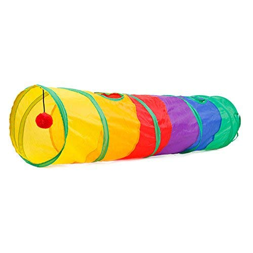 Etbotu Rainbow-colour Splicing Folding Cat Tunnel with Ball Pet Toy Nest