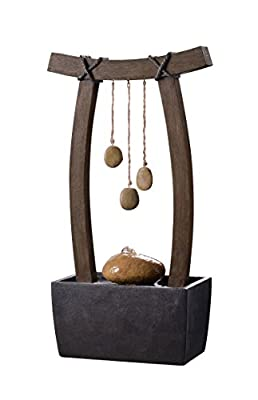 Kenroy Home 51047WDG Reflection Indoor Table Fountain, 21.5 Inch Height Woodgrain, Rope and Stone