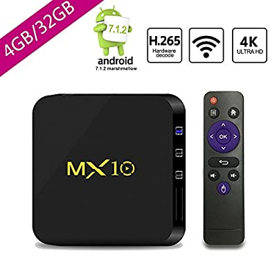 SCSETC Newest Android TV Box DDR4 4G+32GB,4K Android 7.1.2 H.265 64bit Media Streaming Player Smart Box with Wireless, Support Media,music,photo...(Black)